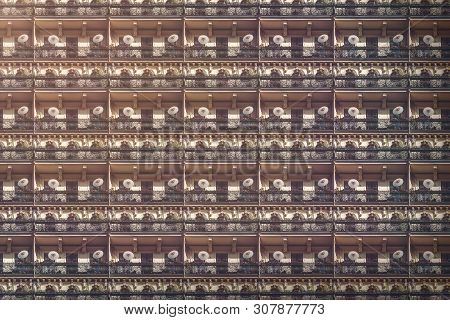 Architectural Pattern, Old Berlin House With Balconies And Chinese Parasols