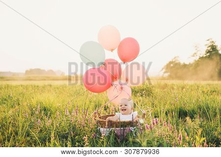 Baby Girl In Wicker Basket With Pink Balloons In Sunlight At Summertime. Happy Child On Nature. Firs