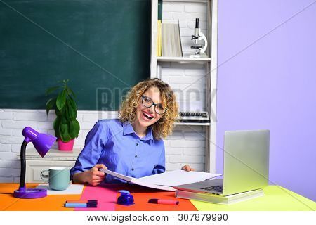 Happy Female Teacher. Student In Classroom. Smiling Teacher In The Classroom. Teacher. University St