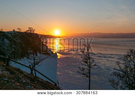 Sunset Scene At Cape Of Burkhan With Frozen Ice Lake Landscape And Sunset Scene At Cape Of Burkhan I