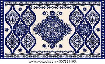 Colorful Ornamental Vector Design For Rug, Carpet, Tapis. Persian, Turkey Rug. Geometric Floral Back