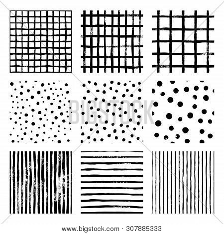 Set Black And White Hand Draw Vector Seamless Patterns Strip, Grid, Polka Dot. Endless Textures In M
