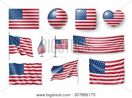 Various American Flags Set Isolated On White Background. Realistic Waving American Flag On Pole, Tab