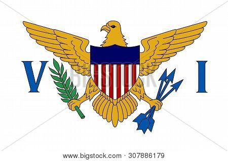 Flag Of United States Virgin Islands In Caribbean Sea. Patriotic Country Symbol With Official Colors