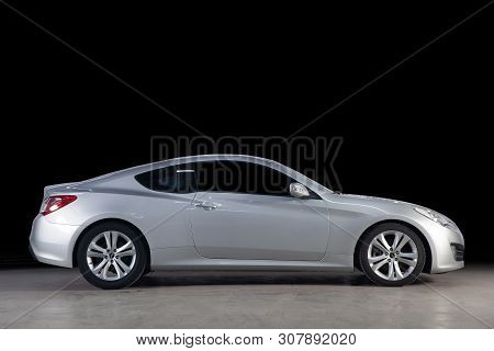 Novosibirsk, Russia - June 20, 2019:  Hyundai Genesis Coupe, Side View. Photography Of A Modern Car