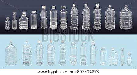 Vector Realistic Plastic Container Mineral Water Bottle Beverage Label Isolated Empty Plastic Water