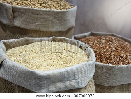 Rice Grain In Hemp Sack, Jasmine Rice, Brown Rice, Red Rice,