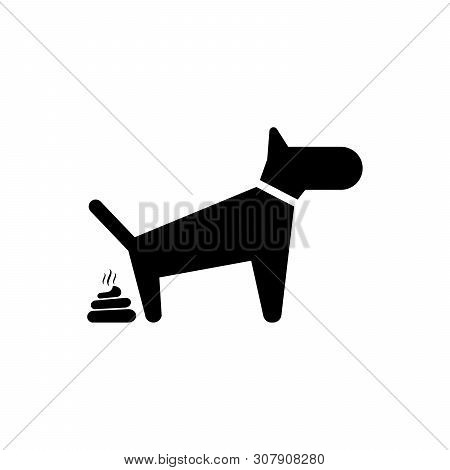 Black Dog Pooping Icon Isolated. Dog Goes To The Toilet. Dog Defecates. The Concept Of Place For Wal