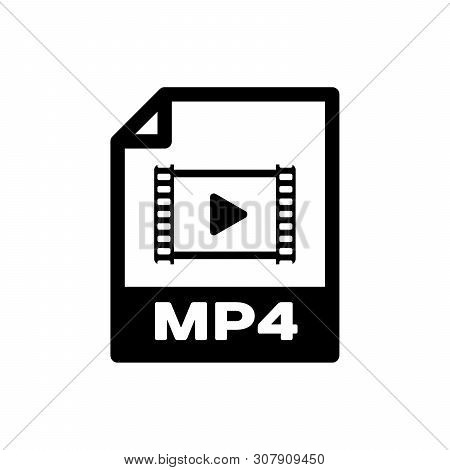 Black Mp4 File Document Icon. Download Mp4 Button Icon Isolated. Mp4 File Symbol. Vector Illustratio