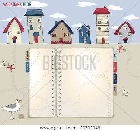 Bungalows and Cabanas, Blog and Web Site Layout, with spiral notebook with links, on a sandy beach