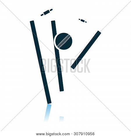Cricket Wicket Icon. Shadow Reflection Design. Vector Illustration.