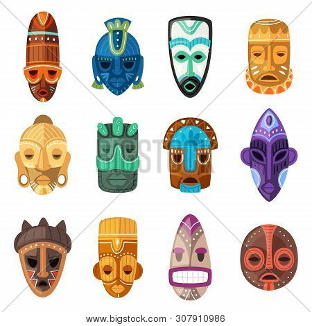 Tribal Mask Vector Cartoon African Face Masque And Masking Ethnic Culture In Africa Illustration Set