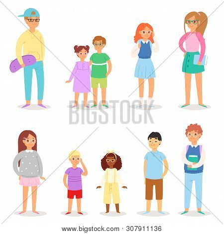 Kids glasses vector children character schoolboy schoolgirl in spectacles illustration set of young people schoolchildren teenager boy girl in optic eye glases isolated on white background poster