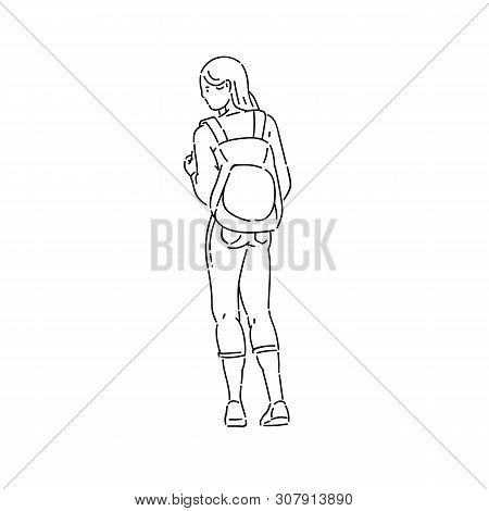 Young Teen Girl Stands Looking Away With Backpack On Her Back Vector Line Art Flat Black White Isola