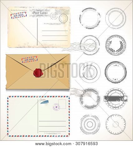 Set Of Postal Stamps And Post Cards On White Background Mail Post Office Air Mail 2.eps