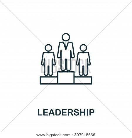 Leadership Icon Symbol In Outline Style. Creative Sign From Human Resources Icons Collection. Thin L