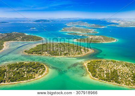Croatian Coast, Beautiful Small Mediterranean Stone Islands In Murter Archipelago Coastline, Aerial