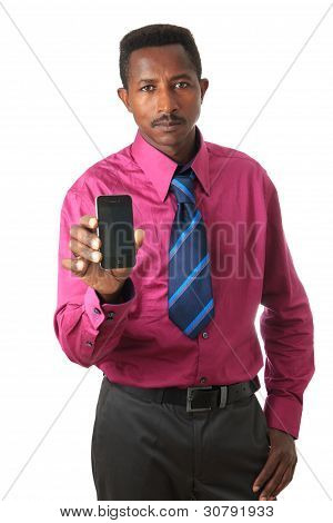 Businessman Black With Tie And Phone Isolated