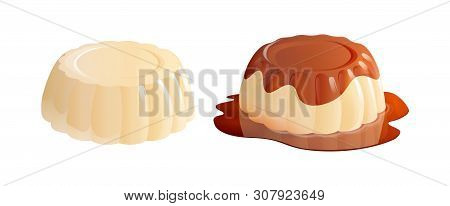 Panna Cotta Dessert With And Without Caramel Sauce. Vector Illustration Isolated On White Background