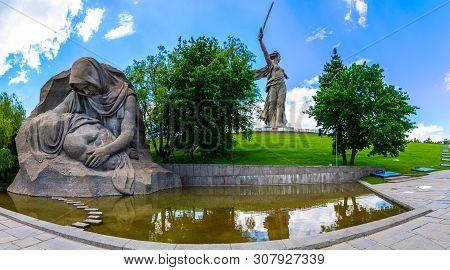 Volgograd, Russia - 26 May 2019: Grieving Mother Monument On Mamayev Kurgan.