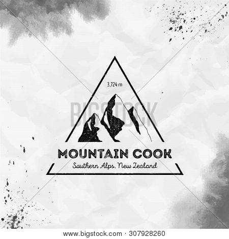Mountain Cook Logo. Triangular Mountain Black Vector Insignia. Cook In Southern Alps, New Zealand Ou