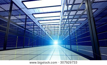 Shot Of Corridor In Large Working Data Center Full Of Rack Servers And Supercomputers. 3d Render