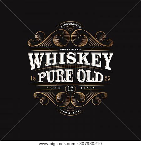 Whiskey Logo. Whiskey Pure Old Label. Premium Packaging Design. Lettering Composition And Curlicues