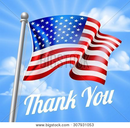 Memorial Day Or Veterans Day Design Of A Thank You And A Waving American Flag On A Flag Pole