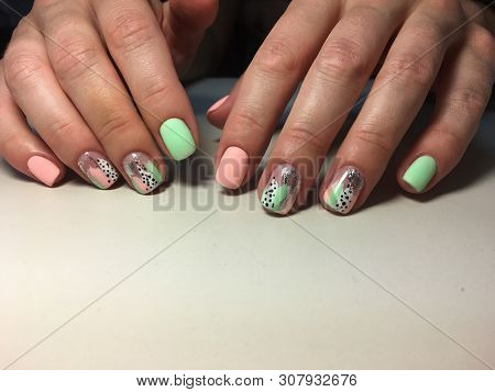 Summer Bright Manicure With Silver And Stripes Design