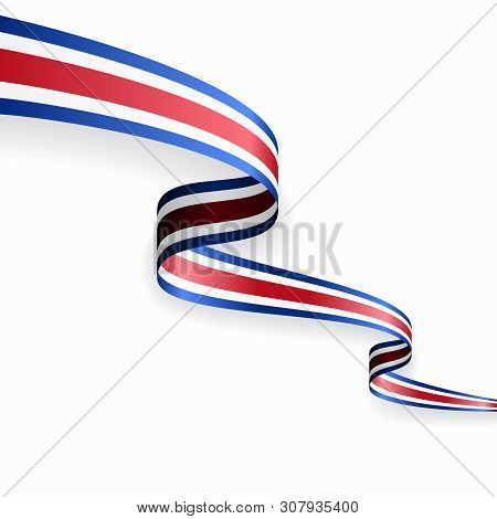 Costa Rican Flag Wavy Abstract Background. Vector Illustration.