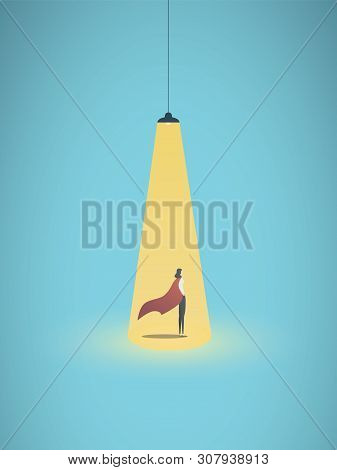 Business Hiring Vector Concept With Businesswoman Superhero Under Spotlight As Symbol Of Searching F