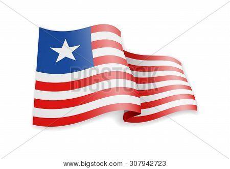 Liberia Flag In The Wind. Flag On White Vector Illustration