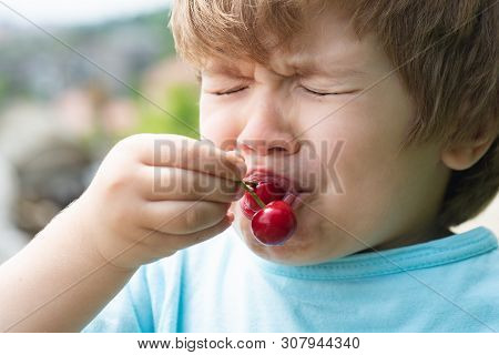 Sour Cherry, Sour Taste. Baby Boy First Tries Cherry. Emotional Child. Healthy Food. Apetite. Emotio