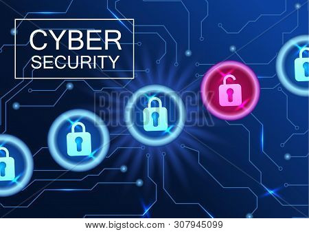 Cyber Security Banner. Anti-virus Network, Hacking Attempt By A Hacker.
