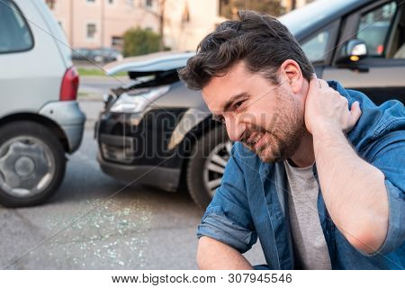 Man Calling Roadside Emergency After Car Accident