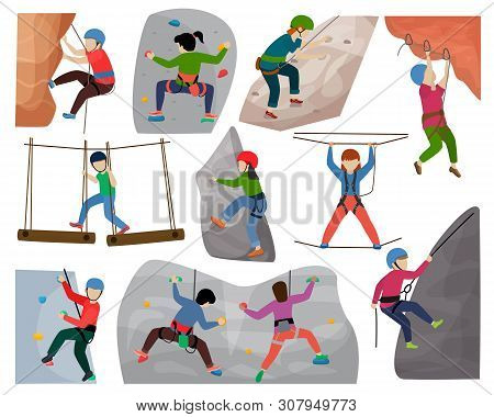 Kids Climbing Vector Climber Children Character Climbs Rock Mountain Wall Or Mountainous Cliff Illus