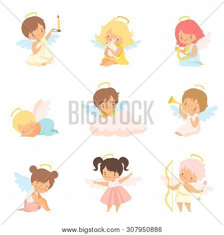 Cute Baby Angels With Nimbus And Wings Set, Adorable Boys And Girls Cartoon Characters In Angel Cost