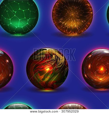 Magic Ball Vector Magical Crystal Glass Sphere And Shiny Lightning Transparent Orb As Prediction Soo