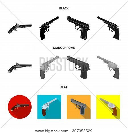 Isolated object of revolver and pistol icon. Collection of revolver and trigger vector icon for stock. poster