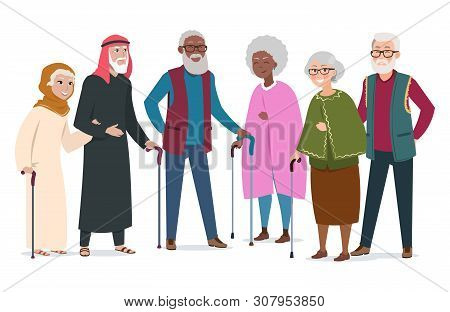 International Happy Old People. Elderly Afroamericans, Muslims And Caucasians Vector Illustration. A