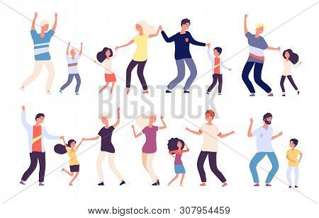 Dancing Parents With Kids. Happy Children Dad And Mom Dance Family Woman Man Child Dancers. Isolated