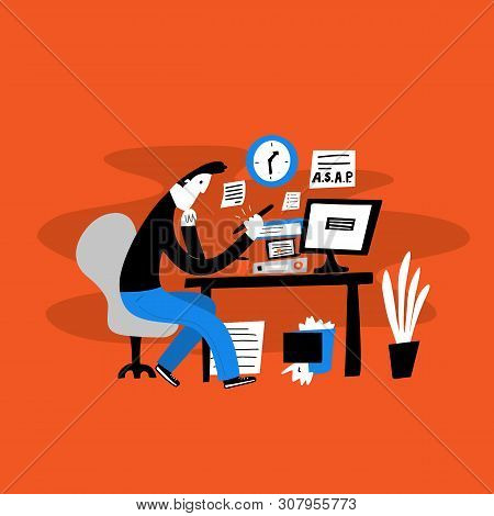 Vector Illustration Of Young Men Sitting On His Workplace And Watching His Phone Instead Of Work. Pr