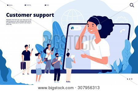 Customer Support Concept. Professionals Help Client With Smartphone. Telemarketing Communications Ve