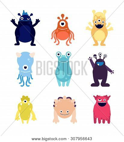 Cute Monsters. Funny Monster Aliens Mascots. Crazy Hungry Halloween Toys Isolated Cartoon Vector Cha
