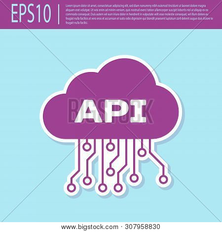 Retro Purple Cloud Api Interface Icon Isolated On Turquoise Background. Application Programming Inte