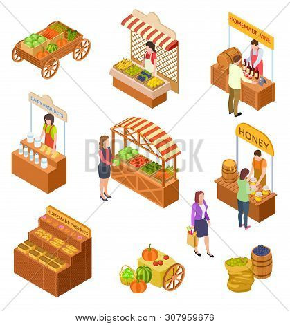Farmers Market Isometric. People Sell And Buy Traditional Meal, Vegetables And Fruit On Food Marketp