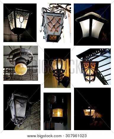 Collection Of Various Old Street Lanterns With Forged Details Outdoors