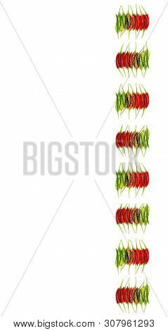 Collection Of Fresh Shiny Red, Orange And Green Chili Peppers In A Row Isolated On White Background