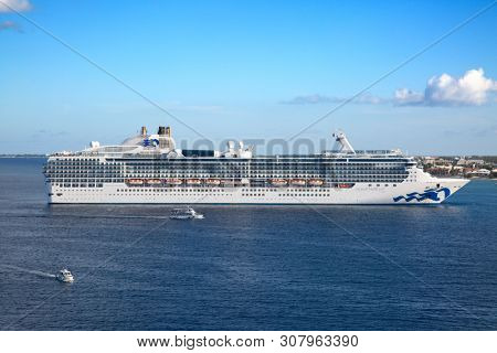 GEORGE TOWN - February 16: Island Princess visiting George town on the cruise in Caribbean sea on February 16, 2019 in George town, Cayman islands. George town is major cruise destination on Cayman.