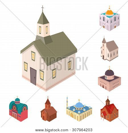 Isolated Object Of Architecture And Building Logo. Set Of Architecture And Clergy Stock Vector Illus